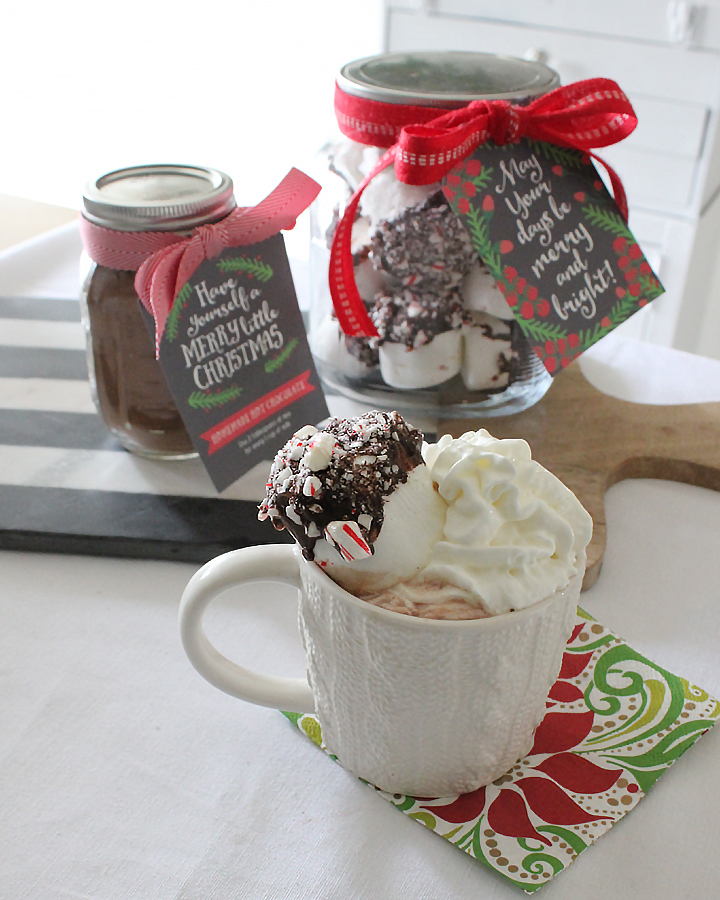 FREE Christmas Gift Tag Printables - Homemade Hot Chocolate Mix and Chocolate-Peppermint Marshmallows