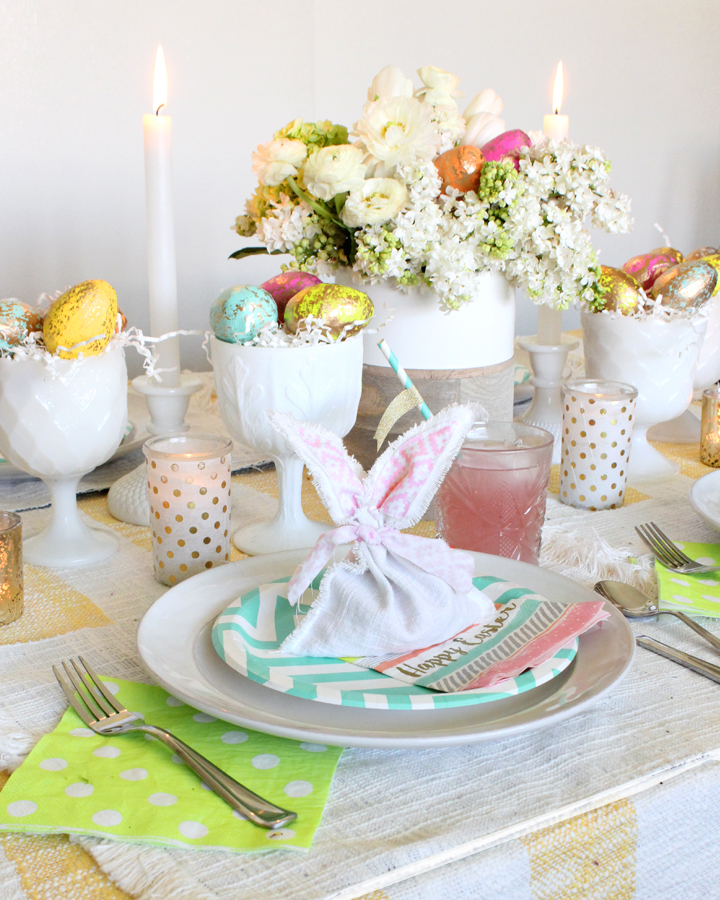 Easter Table Ideas including a DIY Bunny Favor Bag and Gold Foil Easter Eggs
