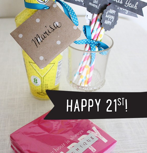 21st Birthday Gift Idea - Free Chalkboard Party Flags and Tag Download - by Tonality Designs