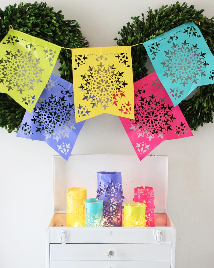 Last Minute Cinco de Mayo Decorations: DIY Papel Picado Luminaries