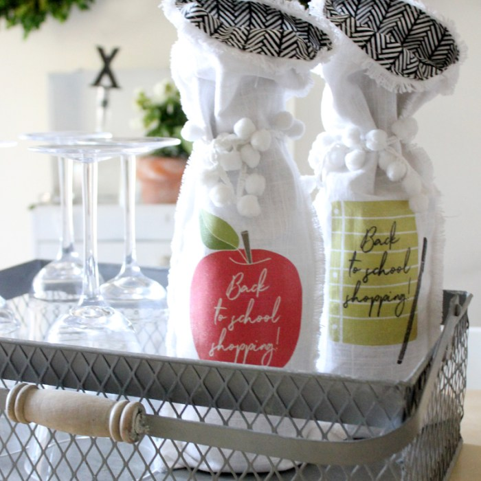 DIY Back to School Wine Bag with FREE Iron-On Printable