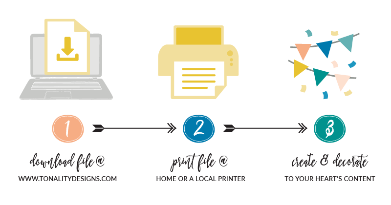 Printing Instructions for Print-It-Yourself Printable Files available on Tonality Designs