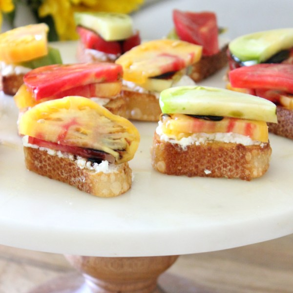 Heirloom Tomato & Goat Cheese Crostini