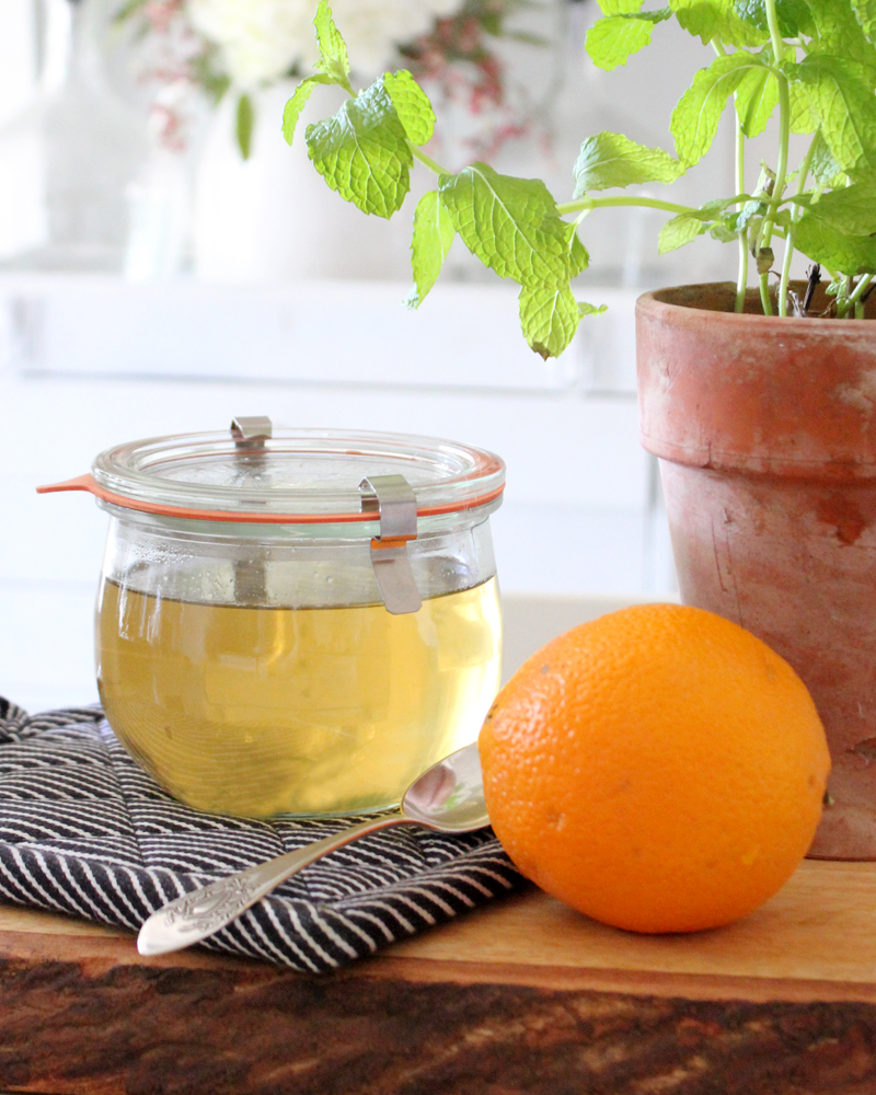 Mint Orange Infused Simple Syrup Recipe & FREE Labels