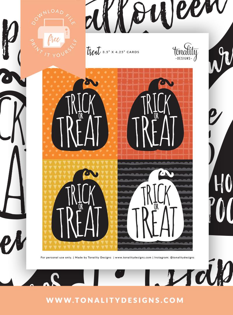 Trick or Treat Free Printable - Tonality Designs