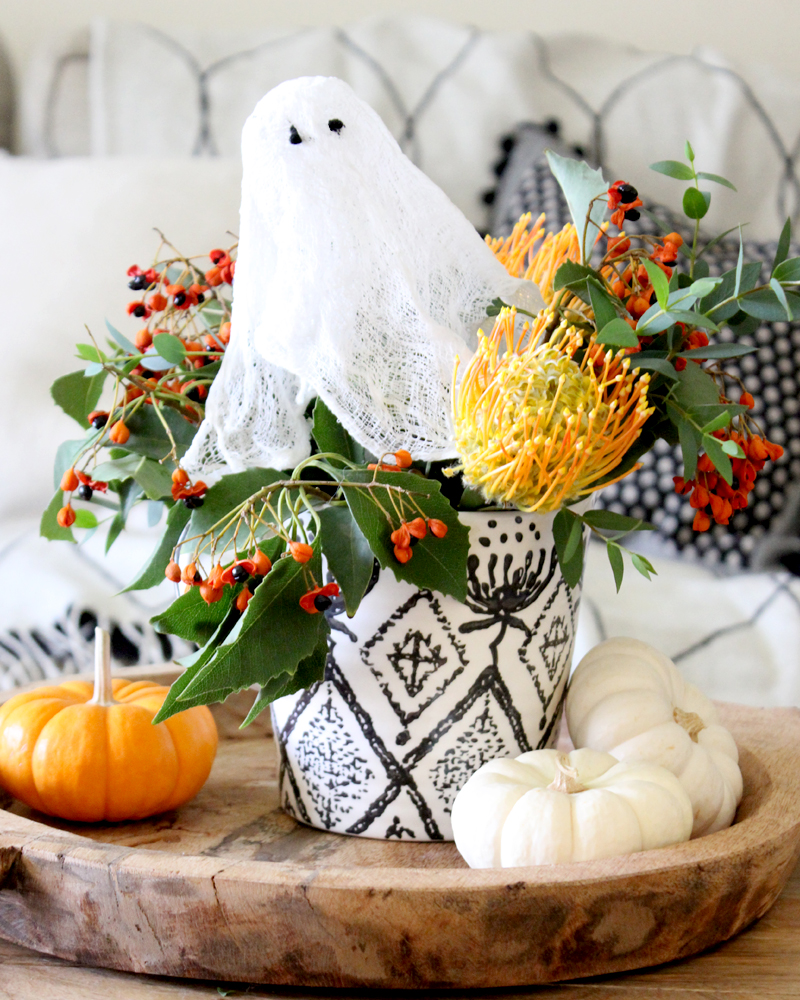 Cheesecloth Ghost in Fall Floral Arrangement