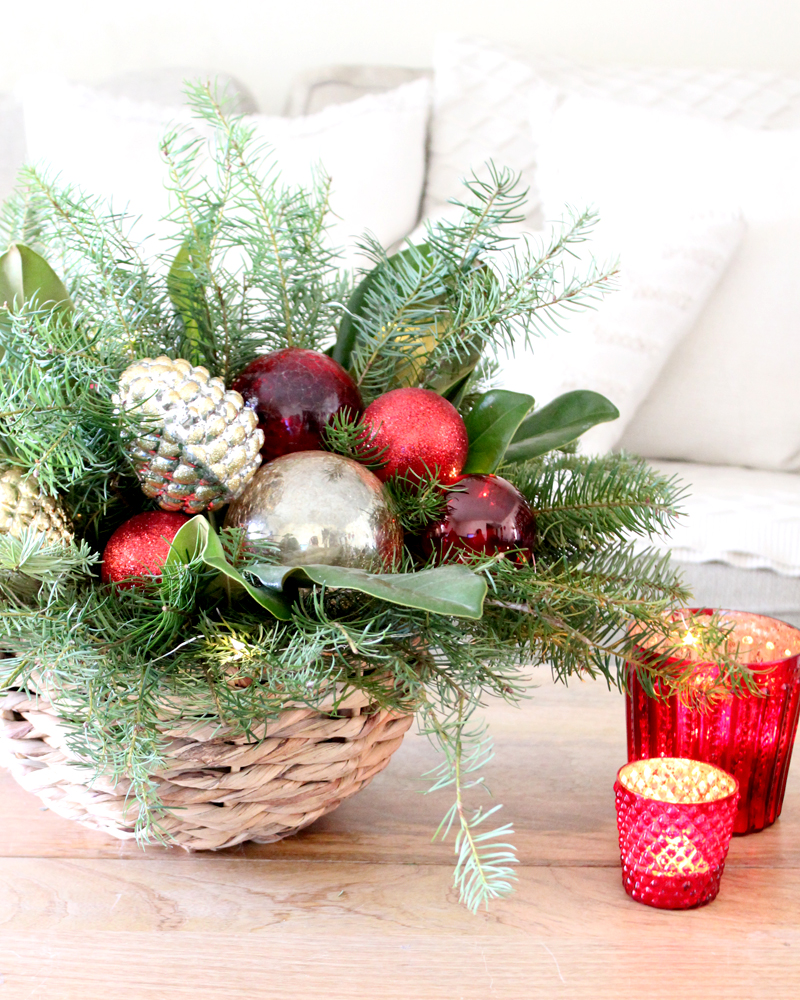 Centerpieces Using Free Christmas Tree Trimmings