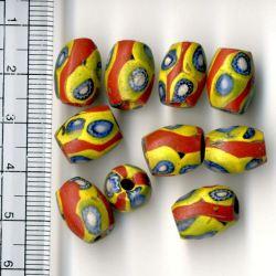ミルフィオーリ卵型 小 赤と黄色