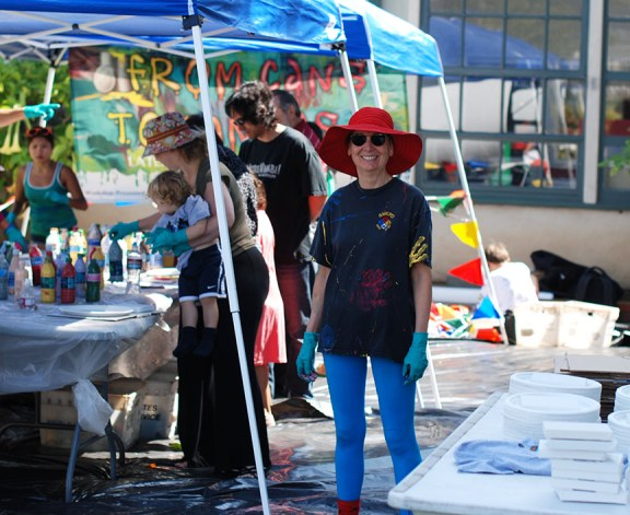 Artist Cassandra Tondro at Santa Monica Airport Open House Cans to Canvas Event