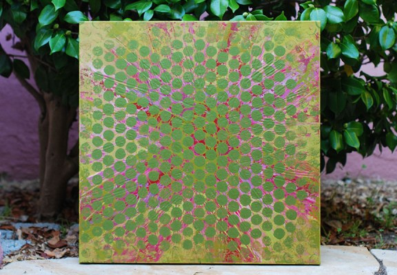 Cassandra Tondro Green Art, recent painting, 24 x 24 inches, repurposed acrylic latex paint on canvas