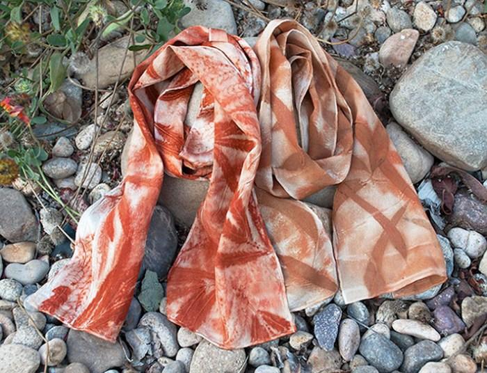 Cassandra Tondro leaf print silk scarves