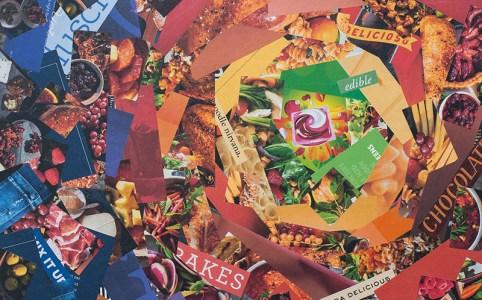 """Cassandra Tondro, """"Gluttony,"""" coronavirus collage art"""
