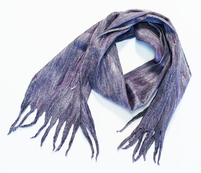 Silk and wool felted scarf