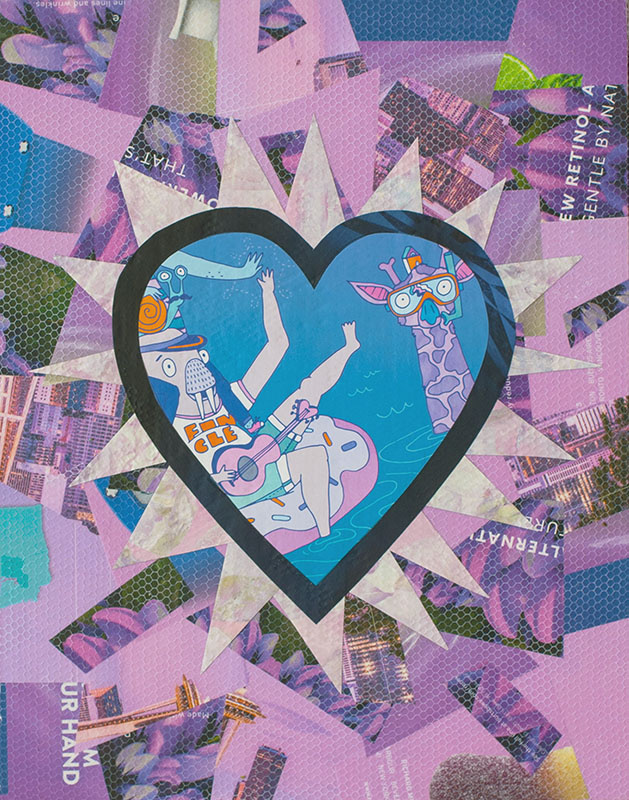 "Cassandra Tondro, ""Purple Pool Party,"" collage art"