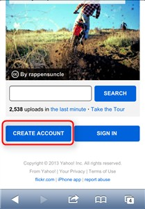 flickr CREATE ACCOUNT