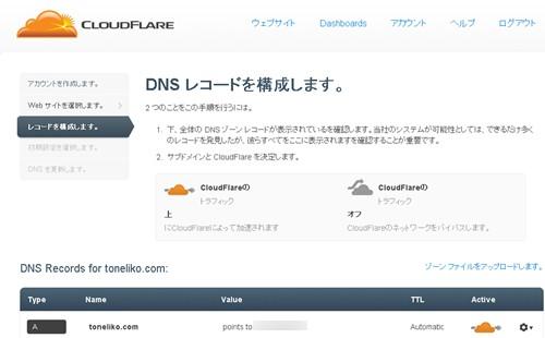 DNSレコードを構成します。