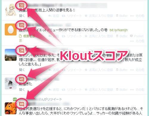 Twitterのタイムライン上でKloutスコア確認できる