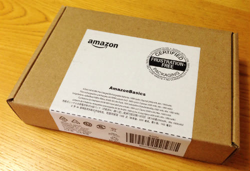 Amazonベーシックの充電池 紙箱