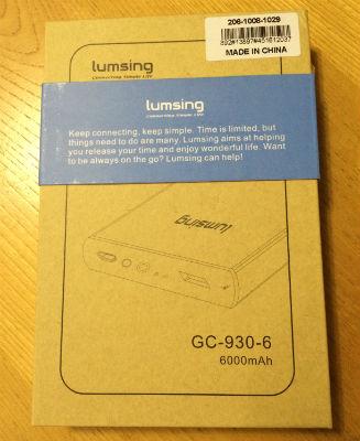 lumsing6000mah モバイルバッテリー 外箱