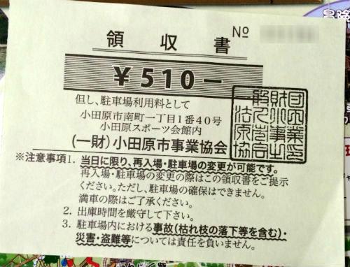 わんぱくらんど駐車場料金510円領収書