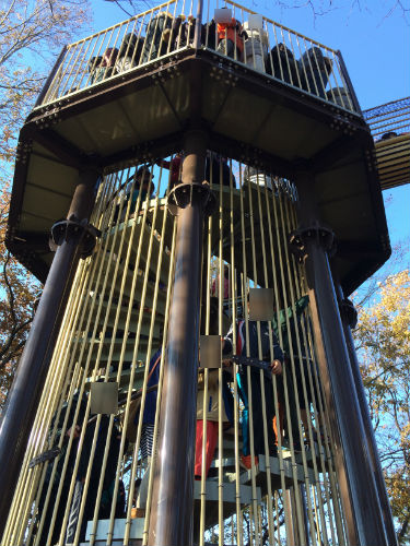 あつぎこどもの森公園「森のすべり台」塔のらせん階段