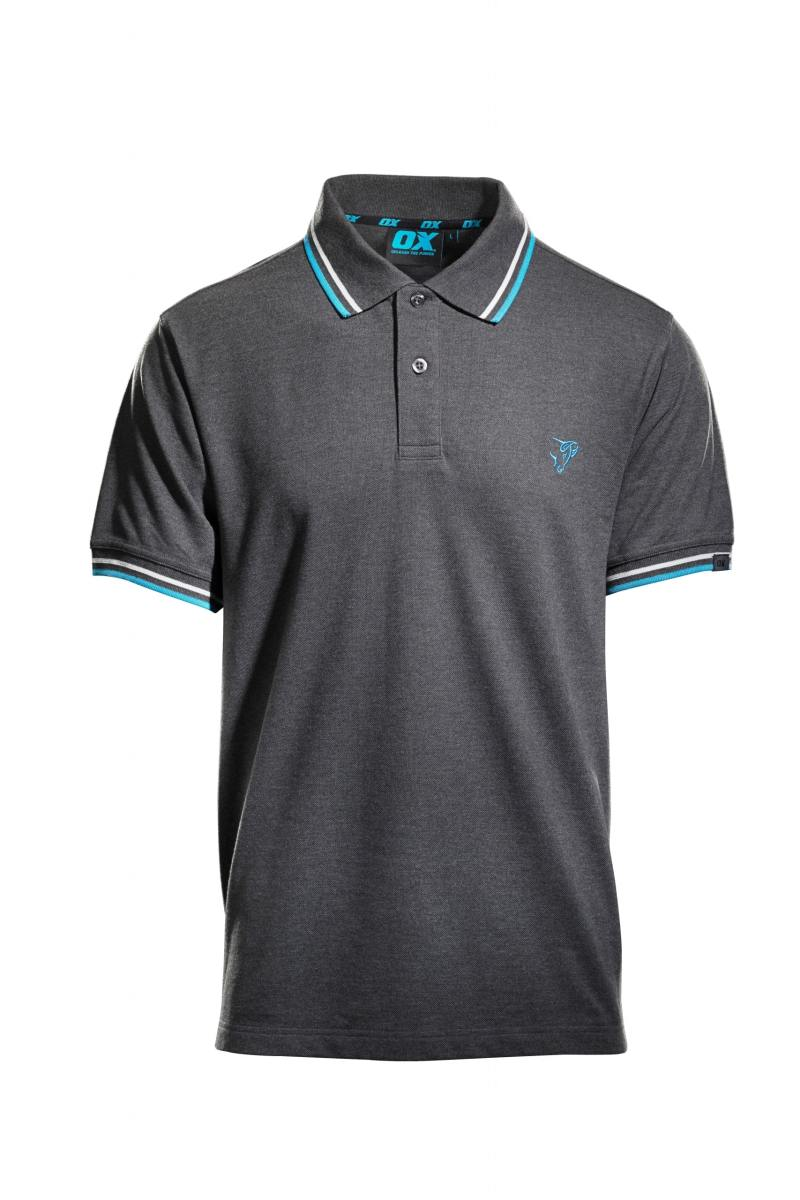 OX Pique Polo Shirt - Charcoal (Front)