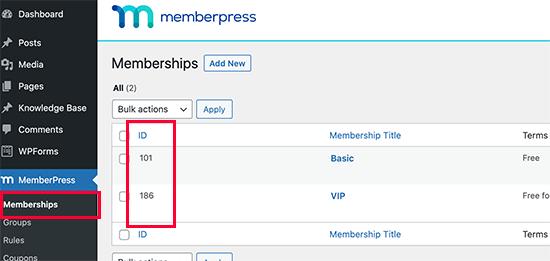 Encontrar un ID de plan de membresía en MemberPress