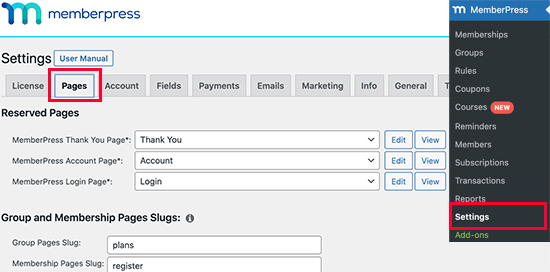 Configurar la página de la cuenta del cliente