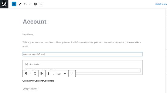 Editar la página de la cuenta en MemberPress