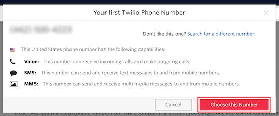 Número de teléfono de Twilio
