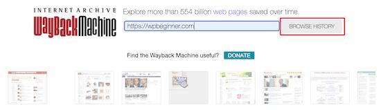 Historial del sitio de exploración de Wayback Machine