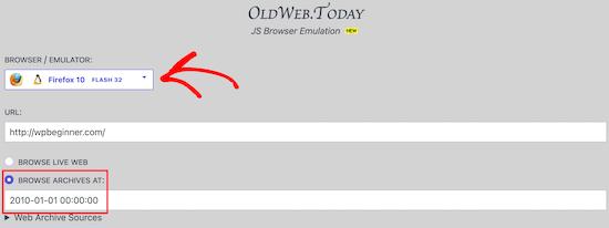 Oldweb.today ingrese la URL del sitio web