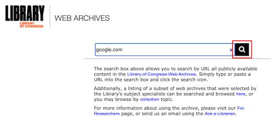 Archivo web de la Biblioteca del Congreso