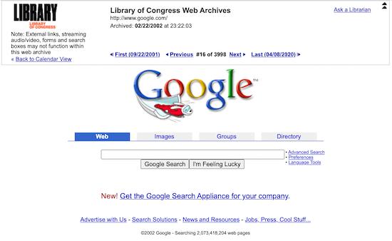 Resultado del sitio web de la Biblioteca del Congreso