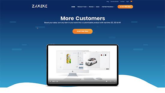 Sitio web de Zakeke