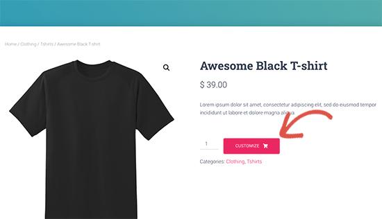 Botón de personalizar producto