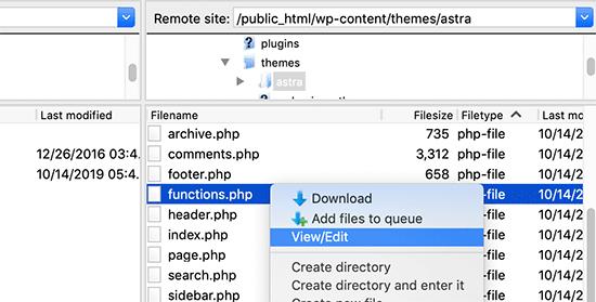 Editar el archivo functions.php