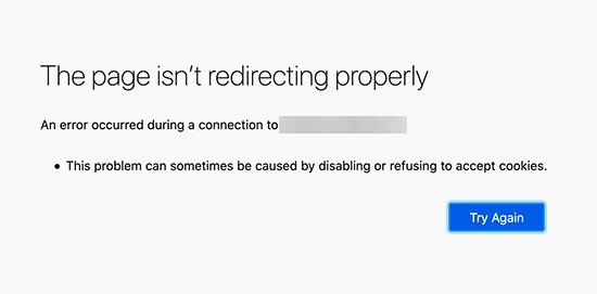 Error de demasiadas redirecciones en Firefox