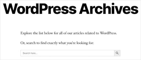 Ejemplo de búsqueda de categoría de archivo de WordPress