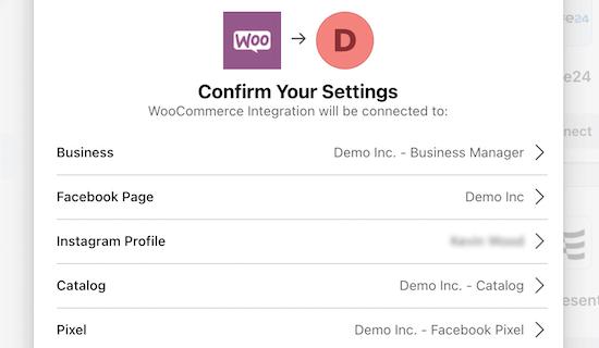 Confirme la configuración de integración de Facebook y WooCommerce