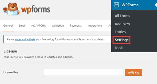 Ingrese la clave de licencia de WPForms