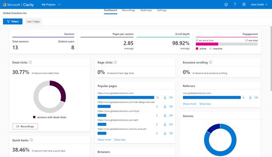 Ver el panel de análisis de Microsoft Clarity