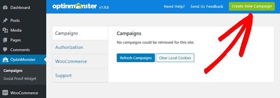 Creando una nueva campaña en OptinMonster
