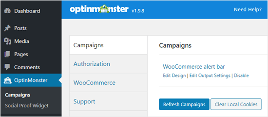 Actualice su lista de campañas en el panel de WordPress