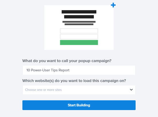 Dé un nombre a su campaña y haga clic para comenzar a construir