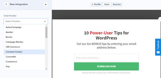 Seleccione su proveedor de servicios de correo electrónico de la lista desplegable