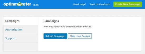 Actualice la lista de campañas en su panel de OptinMonster