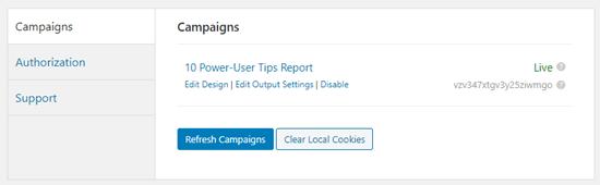 La lista de campañas de OptinMonster en el panel de WordPress