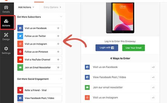 Agregar acciones a tu sorteo de Facebook