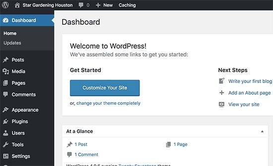 Área de administración de WordPress